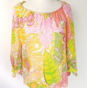 Trina Turk Silk Colorful Floral Tie Sleeve Blouse